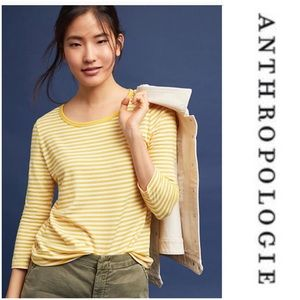Anthropologie Lakeside Tee NWOT Yellow Stripe XXS
